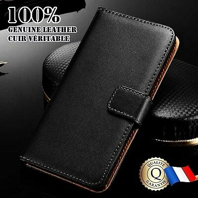 Etui Cuir Véritable noir housse coque Genuine Leather Wallet case HTC Desire 530