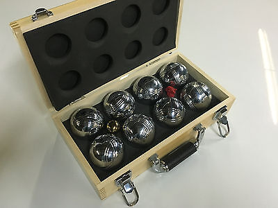 Beautiful Stainless Steele Bocce Ball Set With Wood Case
