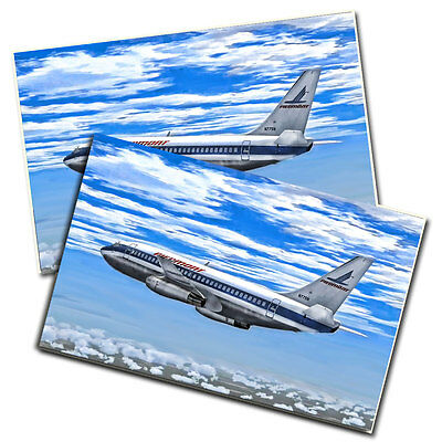Two Piedmont Airlines Flying Jet In The Clouds Color Posters 11x17 Inches
