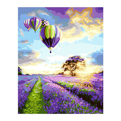 Lavender Hot Balloon DIY Paint By Number Kit Oil Painting On Canvas Home Decor