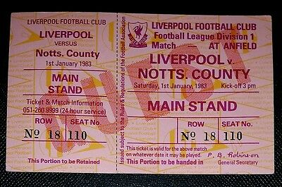 1983 Division 1 LIVERPOOL v NOTTS COUNTY  original match ticket unused