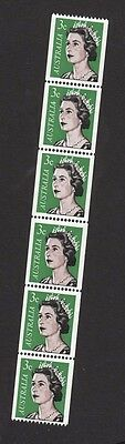 1966-7 Australian Decimal Stamps -3c QE Coil - Strip of 6 -  with Flaw BW467g