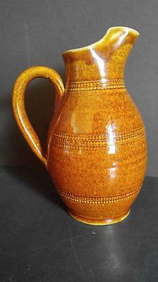 "Gres du Berry Fait Main 8 1/2"" Ceramic Pitcher #4 Made in France  Exc Condition"