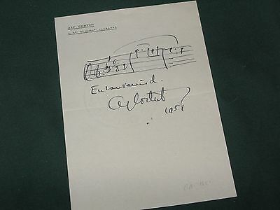 Alfred Cortot autograph musical quotation Classical music