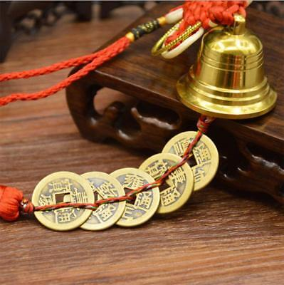 Fortune Copper Bell Five Emperor Coins Lucky Fengshui pendant