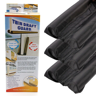 3x Twin Draft Dodger Guard Stopper Protector Under Door Draught Excluder 90cm