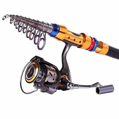 Telescopic Carbon Fishing Rod and Spinning Reel Combos Sea Freshwater Saltwater