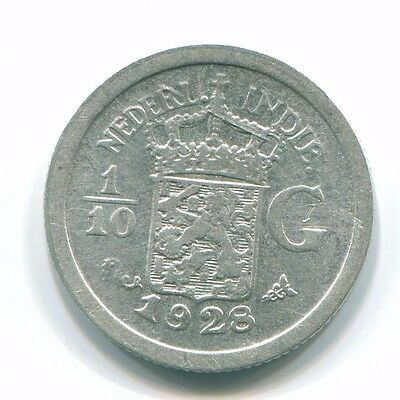 1928 Netherlands East Indies 1/10 Gulden Silver Colonial Coin Nl13418#3