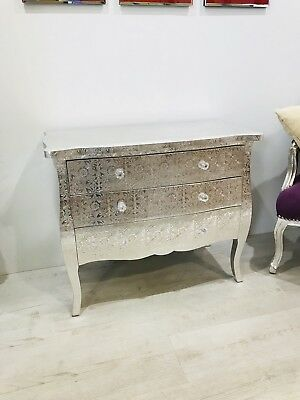 Silver Embossed Metal Low 3 Drawer Chest Of Drawers