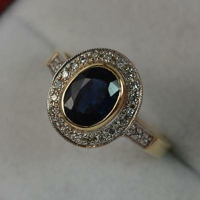 Classic 1.00ct Sapphire & Diamond 9ct Gold Engagement Cluster Ring p0409