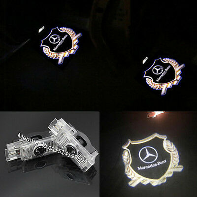 2x LED Gold 3D Logo door welcome Projector light For Mercedes-Benz W203 CLS CLA