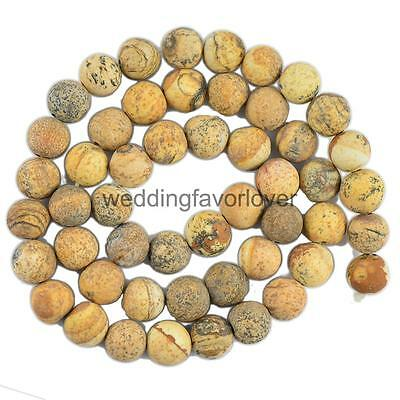 8mm Cabochon Matte Picture Jasper Gemstone Loose Beads Jewelry Making Craft