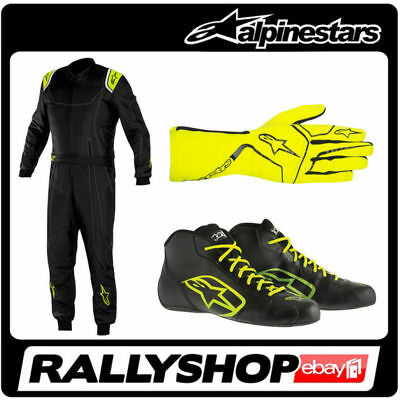 Alpinestars KART SET SUIT SHOES GLOVES  KMX 9 TECH 1-K Start Black Fluo Yellow