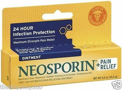 1 x NEOSPORIN + PAIN RELIEF Ointment .5oz Bacitracin Antibiotic Skin First Aid