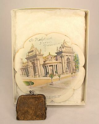 St Louis Worlds Fair 1904 - Palace Of Liberal Arts Ephemera & Leather Coin Purse