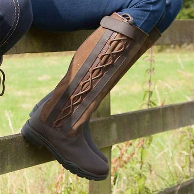 Ladies Mens Horse Riding Country Boots Outdoor Walking Waterproof Leather Laced