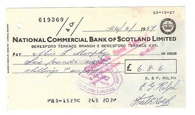 NATIONAL COMMERCIAL BANK OF SCOTLAND - AYR 1967 - used cheques