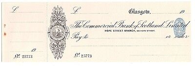The COMMERCIAL BANK OF SCOTLAND Ltd - 1923 Glasgow branch - unissued cheque