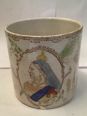 Antique Queen Victoria 1897 Diamond Anniversary Mug with Different Images