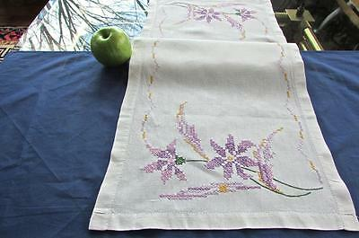 Antique Linen Cross Stitch Embroidered Purple Yellow Irises 14x37 Cottage Runner