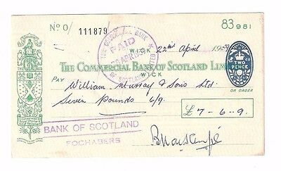 THE COMMERCIAL BANK OF SCOTLAND LIMITED - WICK branch, issued 1959