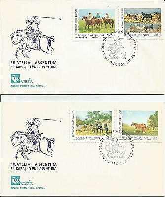 Argentina     1988    Buenos Aires    Horse Paintings    FDI    FDC    Cover x 2