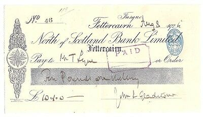 A very large NORTH OF SCOTLAND BANK LIMITED cheque - issued Fettercairn 1924