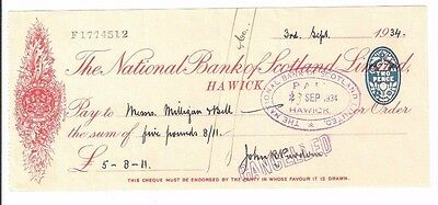 THE NATIONAL BANK OF SCOTLAND - cheque dated 1934