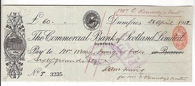 THE COMMERCIAL BANK OF SCOTLAND LIMITED - 1912 cheque, Dumfries branch