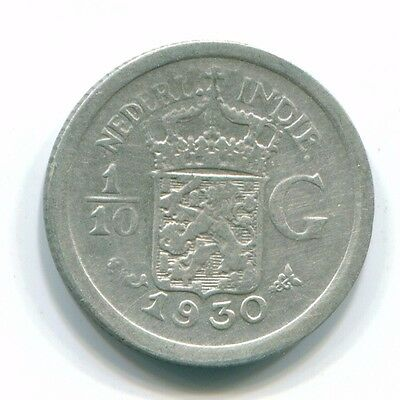 1930 Netherlands East Indies 1/10 Gulden Silver Colonial Coin Nl13448#3