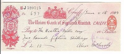 The Union Bank of Scotland Limited, Cheque issued 1909 Crieff