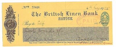 The British Linen Bank - Hawick branch 1925 used cheque