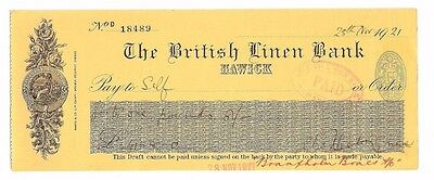 The British Linen Bank - Hawick branch 1921 used cheque