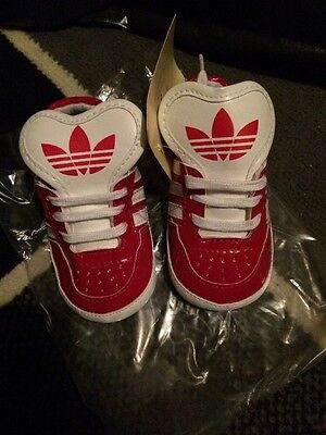 Adidas Baby Red And White Boy Crib Shoes/Trainers 12-18 Months