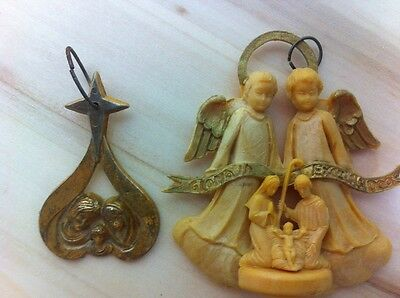 Vintage Plastic Nativity Ornaments Lot of 2 Religious Christmas Ornaments