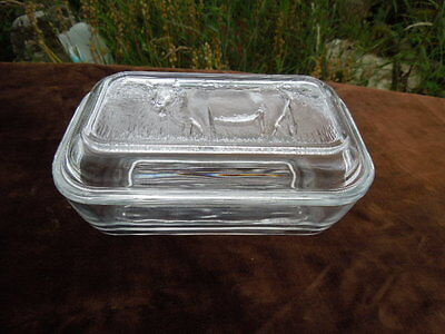 Vintage French Glass Butter Dish with Cow on the Lid