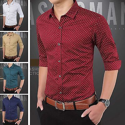 Stylish Mens Slim Fit Long Sleeve Business Work Smart Formal Casual Dress Shirts
