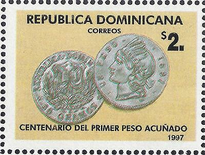 Dominican First Peso Coin Cent. Sc 1257 MNH 1997