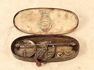 "Antique 1800's ""COOPER & PHILLIPS"" Boxed Apothecary Scales, Enameled Tin Box"