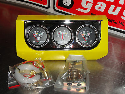 "2"" Black Faced Triple Gauge Set Water Temp,oil Press,amps"