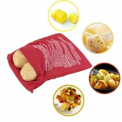 Red Washable Cooker Bag Baked Potato Microwave Quick Fast Cooks 4 Potato HGKD007