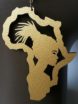Africa map earrings natural wood gold painted Afro girl locs large sizes