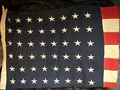 Antique 1948-1959 48 Star American Flag Bulldog Bunting Co Stamp 4ft x 6ft WWII