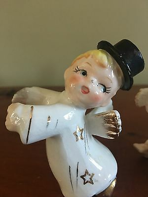 4 Vintage Angel Candle Climbers, So Cute, 1 Angel Wearing Top Hat!