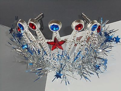 CLAIRE'S Girls Plastic Silver Red Blue Tiara Toy Party Favor Patriotic NEW