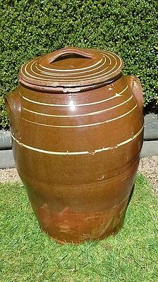 Vintage collectors item very large Victorian antique Earthenware bread bin.