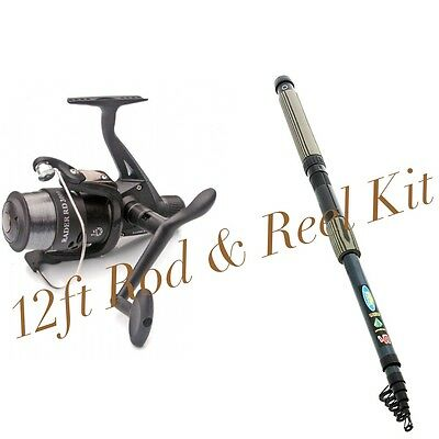 NEW Lineaeffe 'Oxigen' 12FT Mixed Carbon Telescopic Rod And Reel Combo
