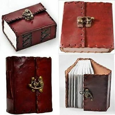 Retro Leather Vintage Diary Planner Notebook Clasp Lock Pocket Journal Handmade
