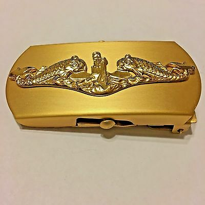 Vintage US Navy Solid Brass Belt Buckle, Submarine Insignia, N.S. Meyer Inc. NY