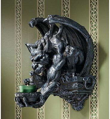 """13"""" Dark Winged Dragon Gargoyle Statue Sculpture Wall Sconce Candle Holder"""